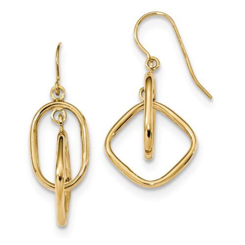 14kt Or Jaune Poli Ovale//Princesse Carré Géométrique Dangle Earrings