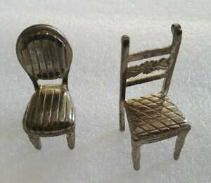 Art Deco Miniature Italian Baroque Silver Plate Doll House Two Chairs Furniture