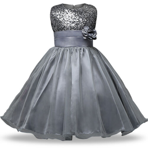 Kid/'s Baby Flower Girl Party Sequins Dress Wedding Bridesmaid Dresses Ages 6M-8Y