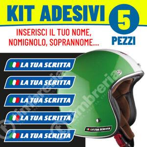 Adesivi-Adesivo-BLU-nome-personalizzato-Kit-5pz-Sticker-Casco-Moto-Bici-Bike