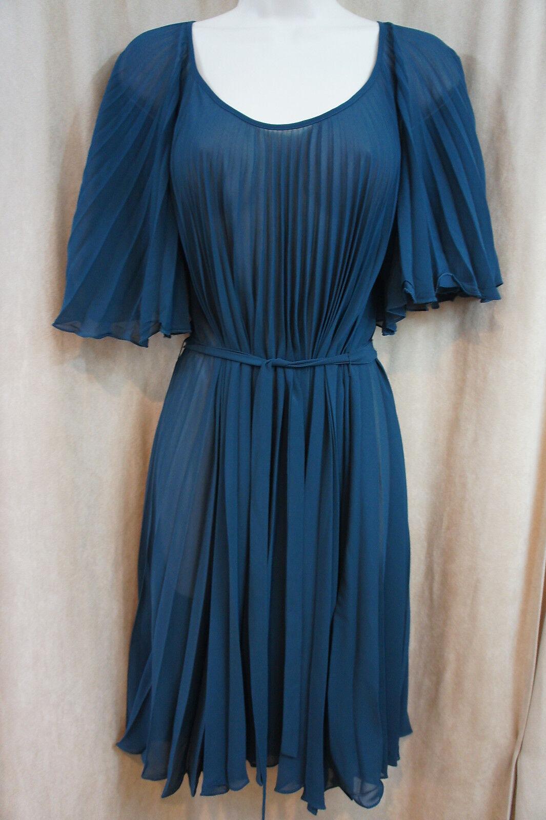 Studio M Robe TAILLE XS Bleu Canard Pur Taille Haute cravate&dye Plissé Affaires