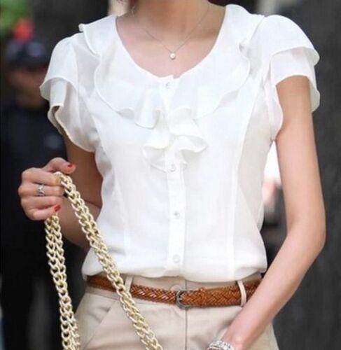Women Blusas Fashion Short Sleeve Ruffles Chiffon Blouse Solid White Tops Blusas