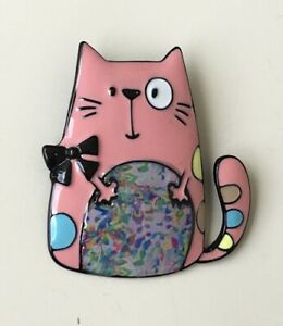 Adorable-artistic-Cat-large-Pin-Brooch-in-enamel-on-Metal