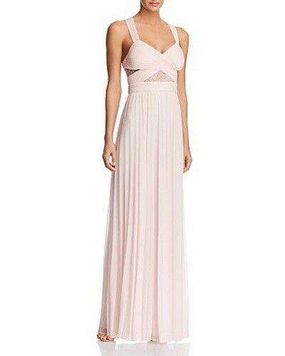 Aqua V-Neck Illusion Lace Inset Gown Größe 6  A1135 MSRP