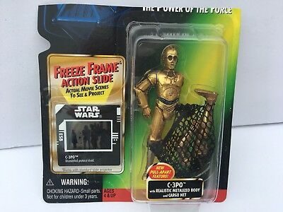C-3PO w Cargo Net 1997 STAR WARS Power of the Force POTF FF Freeze Frame
