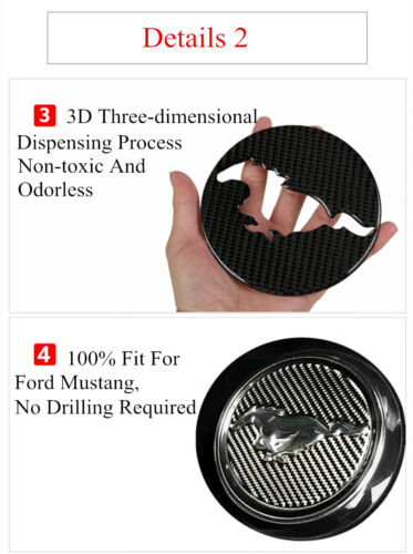 for Ford Mustang 2015-2020 Real Carbon Fiber Steering Wheel Cover Trim Stickers
