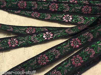 "Vintage NOS French Rose Brocade Ribbon Trim 3/8"" Wide 25 FEET France Chic Shabby"