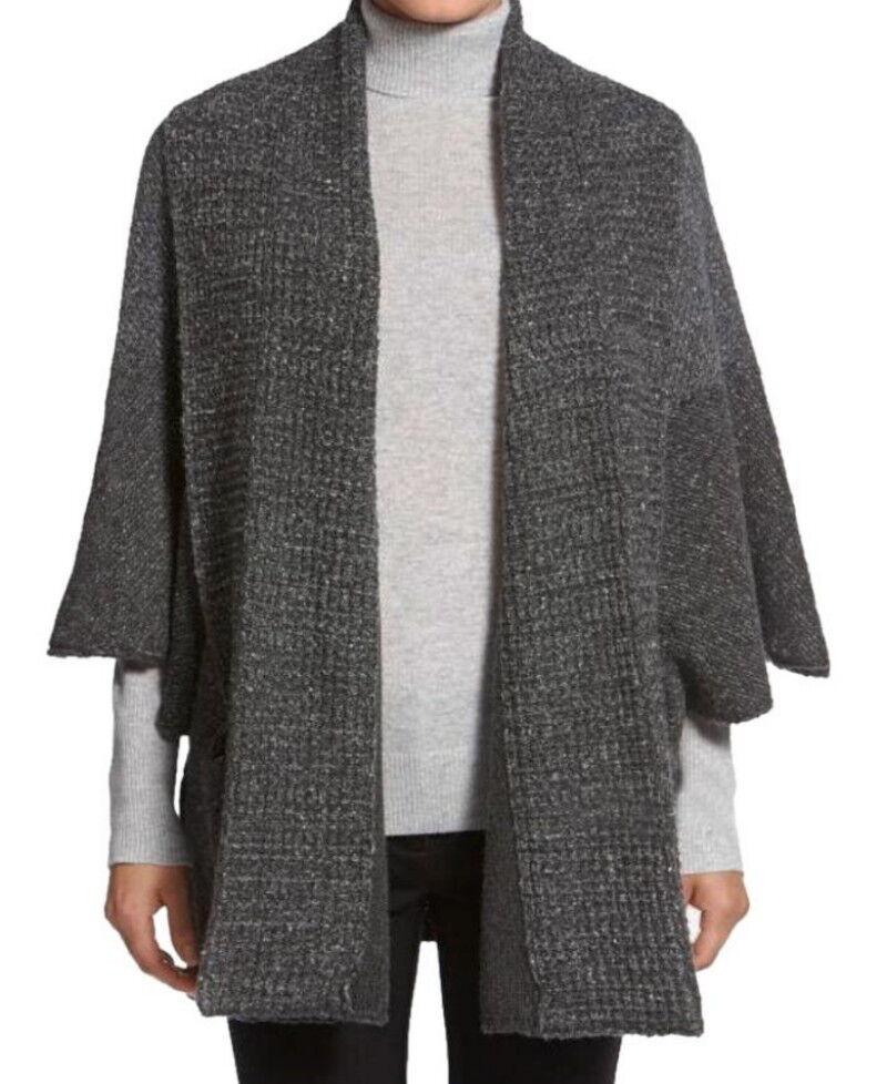 White + Warren Shawl Collar Poncho Style Cardigan Small 0-6 Slate Carbon