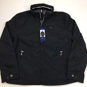 Men-s-Tommy-Hilfiger-Spellout-Taslan-Jacket-with-Hood-Large-Black
