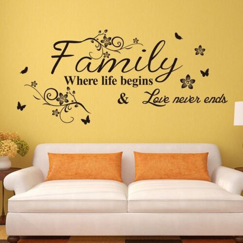 Home Wall Stickers FAMILY Letter Quote Removable Vinyl Good Living Room Decor