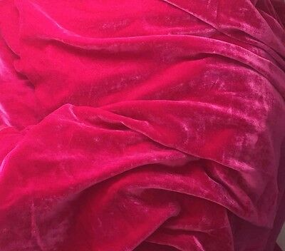 "Silk VELVET Fabric HOT FUCHSIA PINK 6""x22"" remnant"