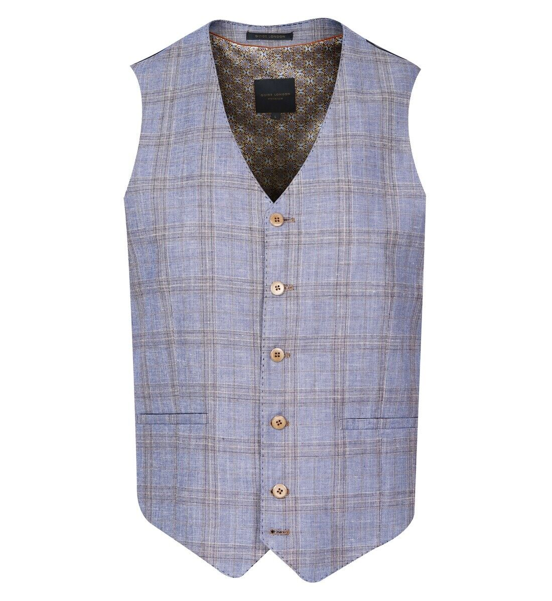 Guide London Blue Variegated Check Waistcoat - WC3354