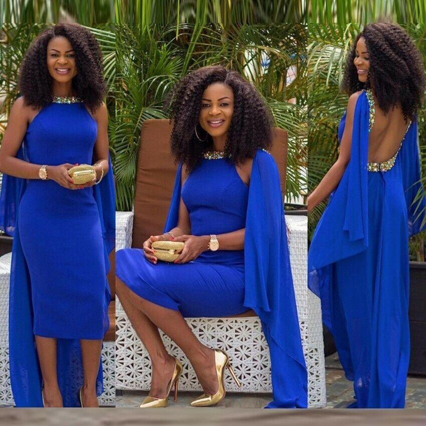 Königsblau Kristall Afrikanische Rückenfreie Tee Länge Abendkleid Formelle Kleid