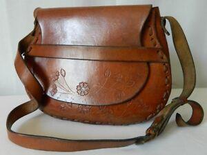 VINTAGE-sac-besace-artisanal-1970-annees-70s-CUIR-epais-hippie-boheme-bag-TBE