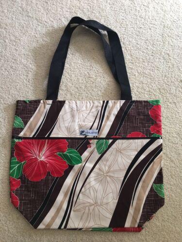 "HAWAIIAN PRINT TOTE SHOPPING BEACH CARRY BAG RED HIBISCUS LARGE 20/""x18/"""