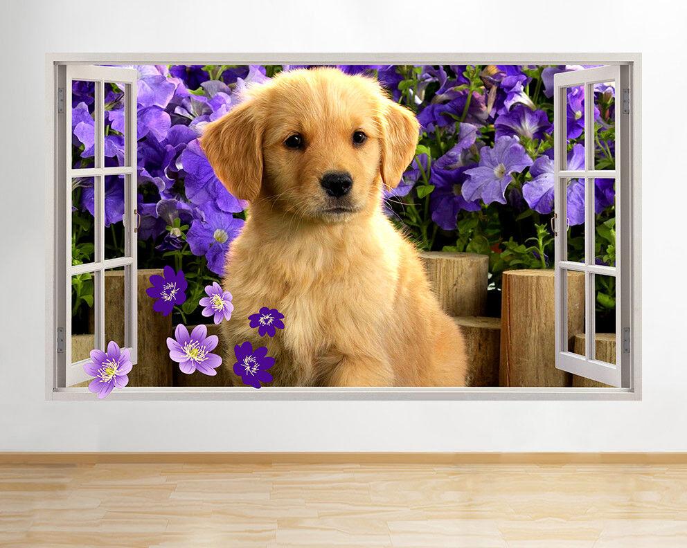 F121 Cute Puppy Dog Fiori Giardino Finestra  adesivo da parete camera bambini