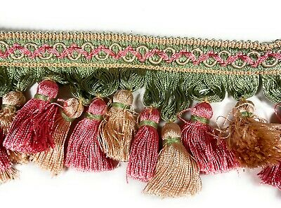 Decorative Tassel Fringe  Multi Color   BTY Peach Celery Green Pink
