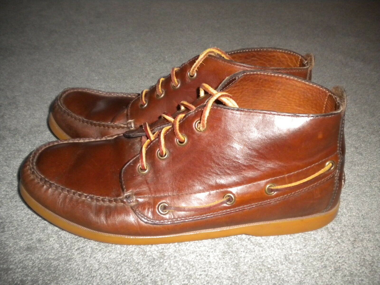 BROOKS BredHERS BROWN LEATHER ANKLE BOOTS SIZE 9.5D