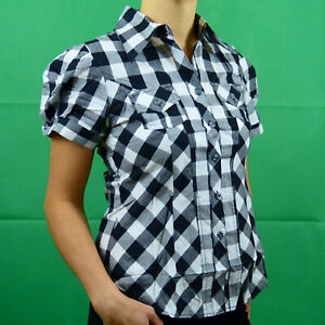 Pink-Yellow-White-Green-Cotton-Checked-Short-Sleeve-Shirt-Top-8-10-12-14-16
