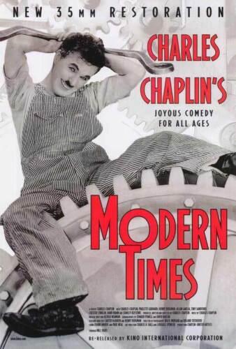 MODERN TIMES Movie POSTER 27x40 Charlie Chaplin Paulette Goddard Henry Bergman