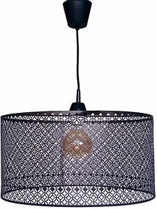 LAMPARA-COLGANTE-LUZ-DE-TECHO-GRANDE-REJILLA-MARRON-45cm-SALON-COCINA