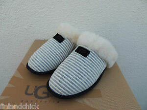 df3aaff343d Details about UGG SCUFFETTE II BLACK STRIPE SHEEPSKIN SLIPPERS, US 12/ EUR  43 ~NIB