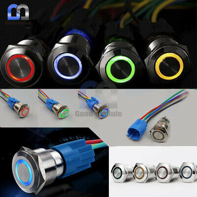 12mm 3-24V Push Button LED Power Switch Momentary Latching Metal Waterproof use