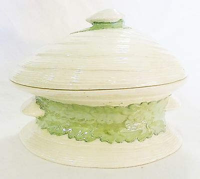 Vintage shell shaped glazed serving soup casserole bowl dish with Lid