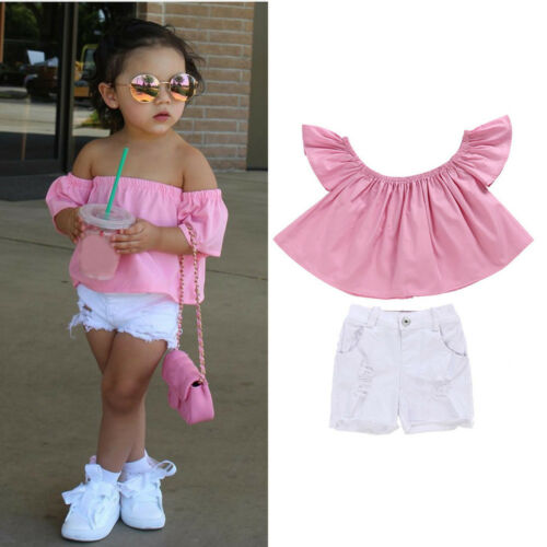 Kids Toddler Baby Girls Off Shoulder Tops+Shorts Jeans Pants Outfits Clothes KW