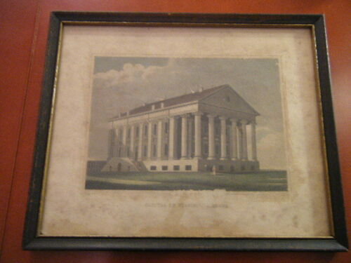 """Capitol of Virginia, Richmond"" early 19th century hand colored engraving Old!"