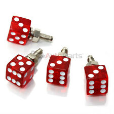 4 Custom CLEAR RED DICE License Plate Frame BOLTS Screws Caps car/truck/suv/auto