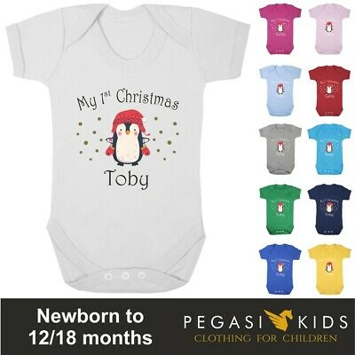 first christmas any name metalli bauble personalised baby boy bib vest grow