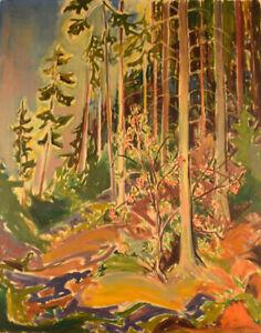 Emil-A-Schou-1896-1986-Danish-artist-Forest-scene-Oil-on-canvas-1940-039-s