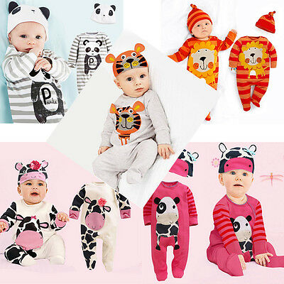 Newborn Infant Baby Girls Boys Playsuit Romper+Hat Costume Outfits Set 6M-24M