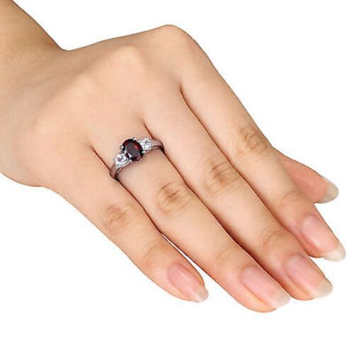 2 CT TGW Garnet White Sapphire 3-stone Fashion Ring In Sterling Silver