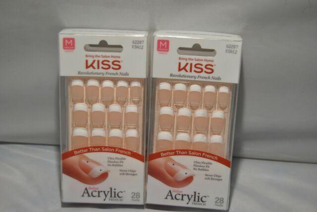 Kiss Acrylic Nude French Nails Natural Look Tips Medium