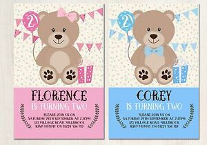 CUTE TEDDY BEAR INVITATIONS 10 FIRST SECOND THIRD BIRTHDAY BOY
