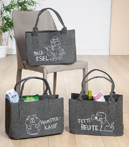 Filz Tasche Packesel Hamsterkauf Beute Einkaufen Beutel Henkel Shopper Landhaus