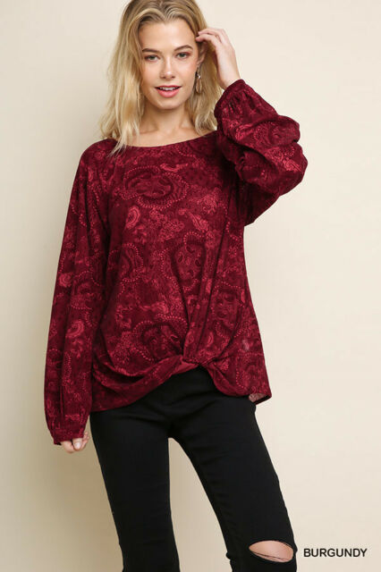 NWT S M L Umgee Long Puff Sleeve Red Floral Paisley Top Blouse Knotted Hem
