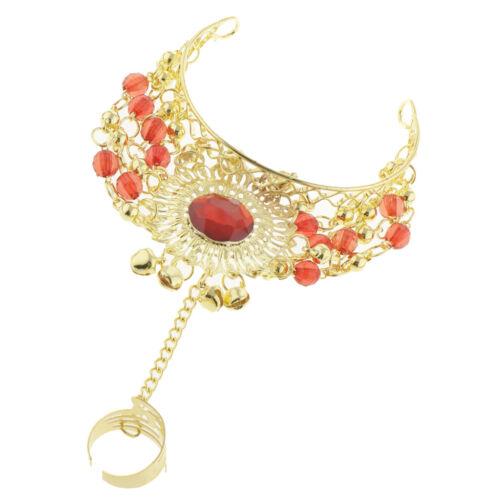 Tribal Belly Dance Jewelry Slave Bracelet with Finger Ring /& Jingle Bells