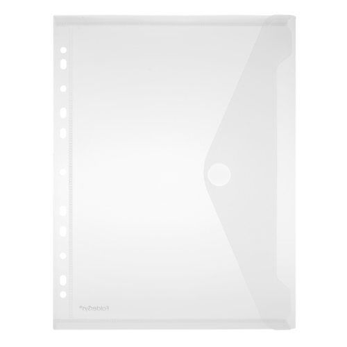 Colourless Trans Punched Pockets Transparent A4 Pockets Envelopes Pack of 10