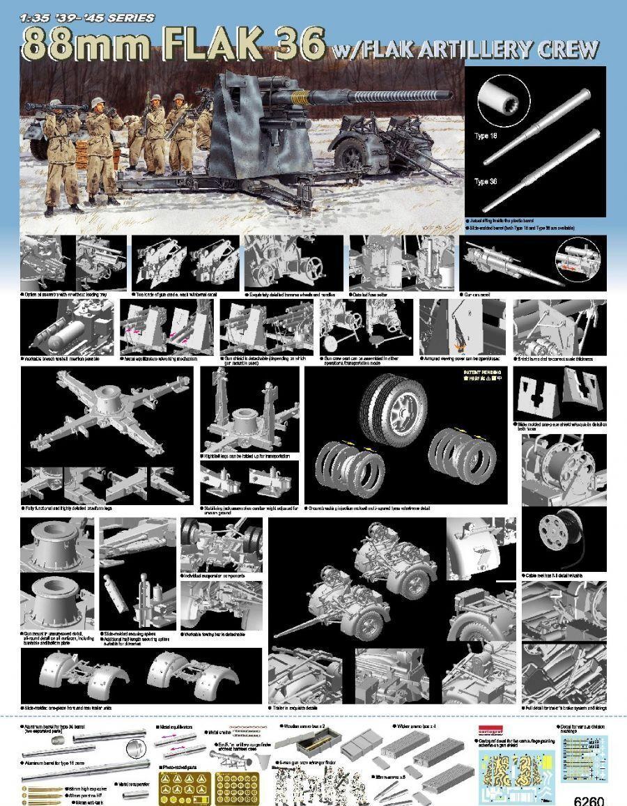 DRAGON 6260 1 35 88mm Flak 36 GUN w Artillery Crew ( Full Metal Barrel Edition)