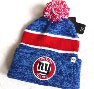 af9350d8f3a NY GIANTS NEW YORK  47 BRAND American Football Cuff Bobble Beanie ...