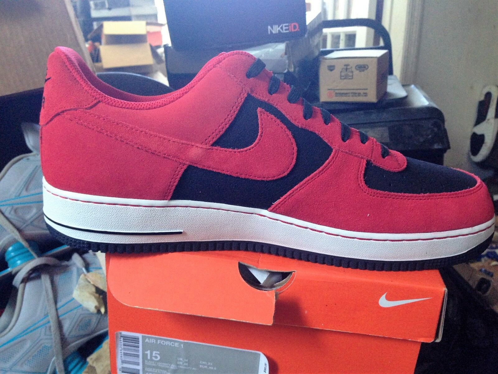 NIKE AIR FORCE 1 RED BLK WHITE BNIB SIZE 15 DEADSTOCK