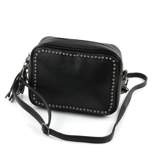 Clutch Cross Body Bag Umhänge Hand Henkel Schulter Tasche Nieten Quaste Schwarz