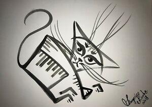 ORIGINAL-A3-Malerei-PAINTING-zeichnung-POP-art-drawing-black-schwarz-katze-cat-2