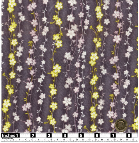 Quilting Fabric Light Yellow White Pink Flowers Grey BG Fat Quarters 100/% Cotton