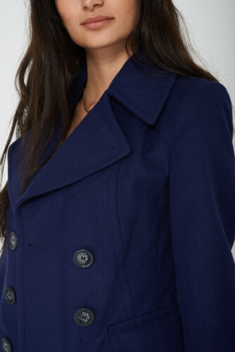 EX M/&S Ladies Double Breasted Soft Touch Peacoat SIZE 8 10 12 14 16