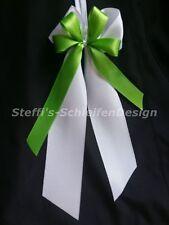 10 Antennenschleifen Autoschleifen Hochzeitsschleifen Schleifen weiß grün