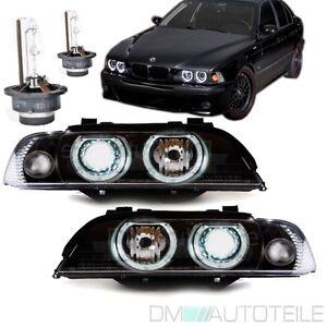 BMW-E39-Angel-Eyes-Xenon-Scheinwerfer-Set-Schwarz-D2S-Facelift-Philips-Brenner